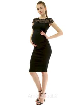 Mama Crewneck Crochet Lace Inset Ruched Sheath Dress