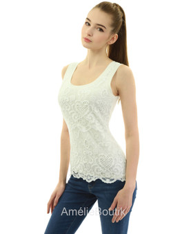 Crochet Lace Overlay Tank Top Blouse