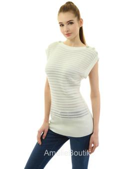 Boat Neck Semi-sheer Sleeveless Tunic Knit Top