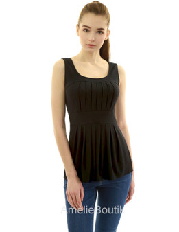 Scoop Neck Pleated Fit and Flare Sleeveless Blouse