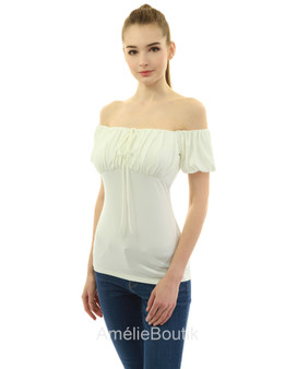 Ruched Off Shoulder Puff Sleeve Blouse