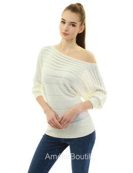 On Off One Shoulder Semi-sheer Knit Top
