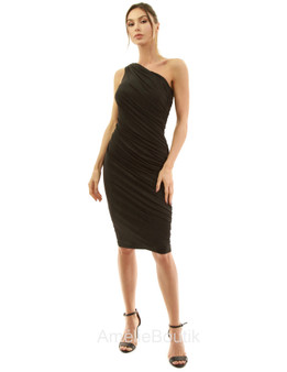 One Shoulder Ruched Cocktail Dress
