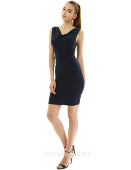 Cowl Neck Sleeveless Ruched Dress