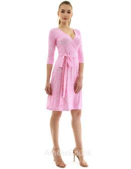 Elbow Sleeve Faux Wrap A Line Dress