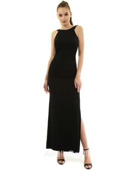 Crewneck Halter Side Slit Maxi Dress