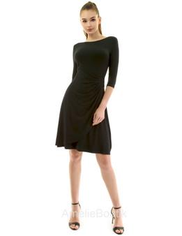 Boatneck 3/4 Sleeve Buckle Dress