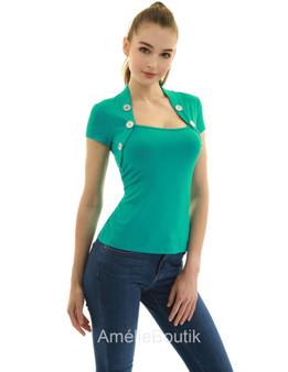 Bolero Style Button Embellished Blouse