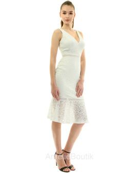 V Neck Crochet Lace Overlay Trumpet Dress