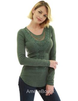 Crochet Lace Inset Curved Hem Blouse