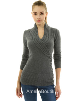 Shawl Collar Faux Wrap Lace Up Sweater