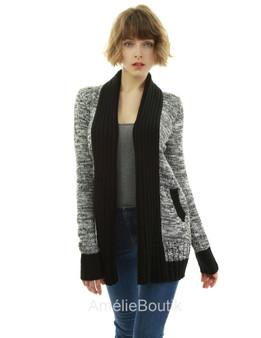 Shawl Open Front Marled Sweatercoat Cardigan