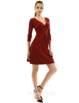 V Neck Faux Wrap Long Sleeve Knit Dress
