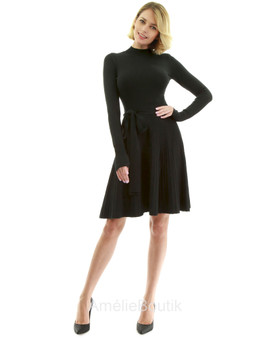 Mock Neck Fit-and-Flare Knit Sweater Dress