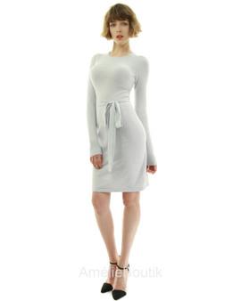Crewneck Long Sleeve Tie Sweater Dress