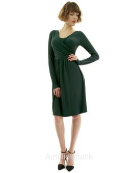 V Neck Crossover Long Sleeve Ribbed Dress