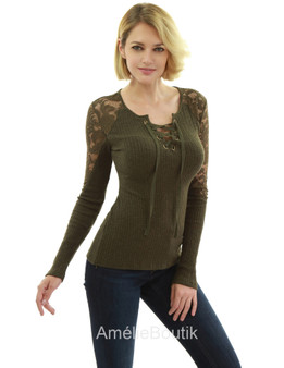 Floral Lace Inset Lace Up Ribbed Knit Top