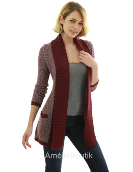 Open Front Marled Sweater Cardigan