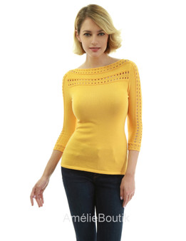 Boatneck Eyelet Trim 3/4 Sleeve Sweater
