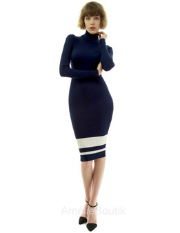 Turtleneck Ribbed Sweater Dress