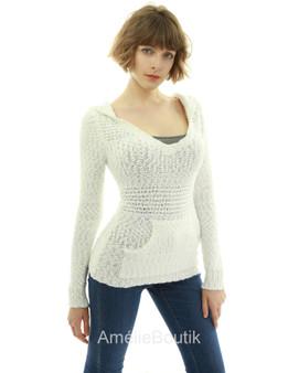 Hoodie Long Sleeve Open Stitch Sweater