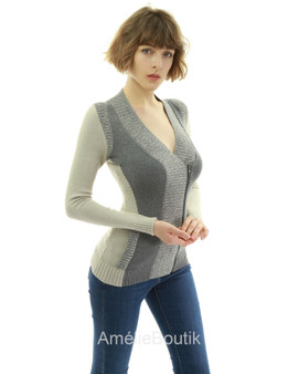 Color Block Zip Sweater Cardigan