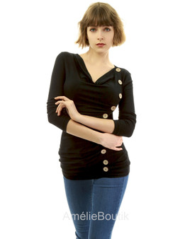 Cowl Neck Button Embellished Blouse