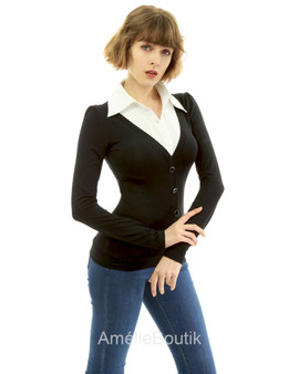Shirt Collar Pleated 2 in 1 Top