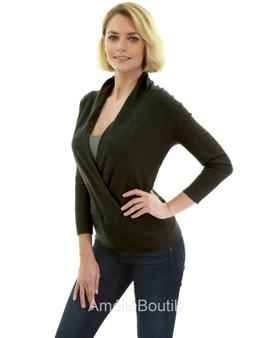 3/4 Sleeve Wrap Sweater