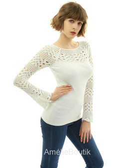 Boat Neck Crochet Inset Sweater