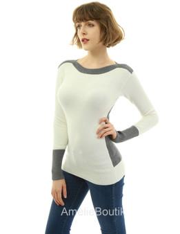 Boat Neck Drop Shoulder Sweater