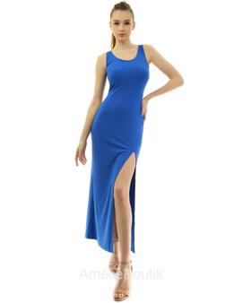 Scoop Neck Fitted High Slit Sleeveless Tank Dress