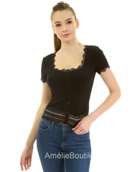 Scallop Scoop Neck Lace Hem Ribbed Blouse Shirt