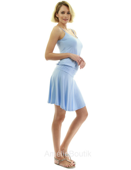 Spaghetti Strap V Neck Ruched Blouson Dress