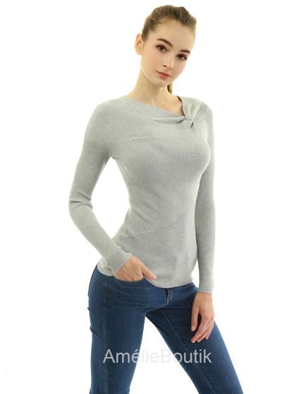 Asymmetric Twist Knot Neckline Ribbed Sweater