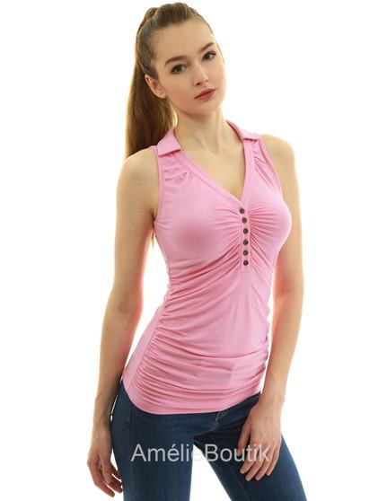 Collared V Neck Sleeveless Polo Shirt Tank Top Blouse