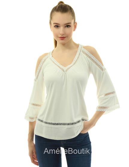V Neck Crochet Lace 3/4 Sleeve Cold Shoulder Shirt