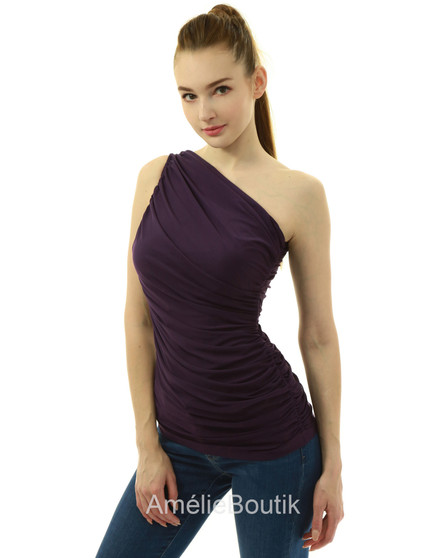 One Shoulder Sleeveless Ruched Fold High Low Hem Top