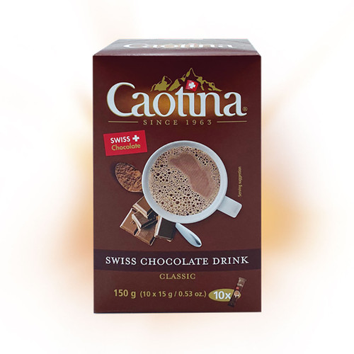 The font packaging of the 10 pack Caotina Chocolate Powder sachets in 15 gram servings.