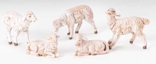 "5"" White Sheep Set of 5"