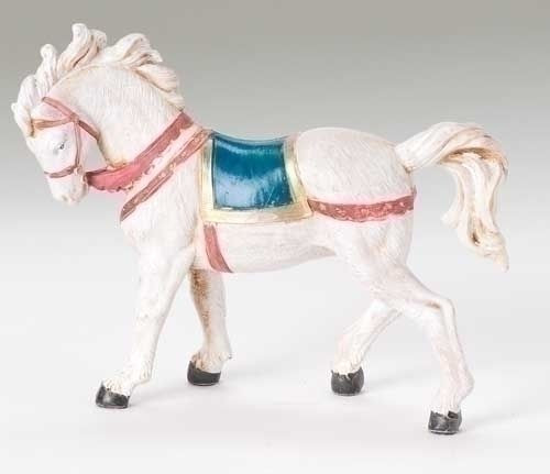 """5"""" White Horse with Blanket"""