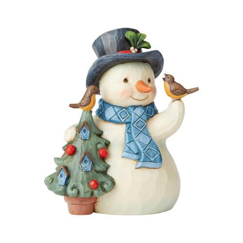 Pint Snowman With Birdhouse