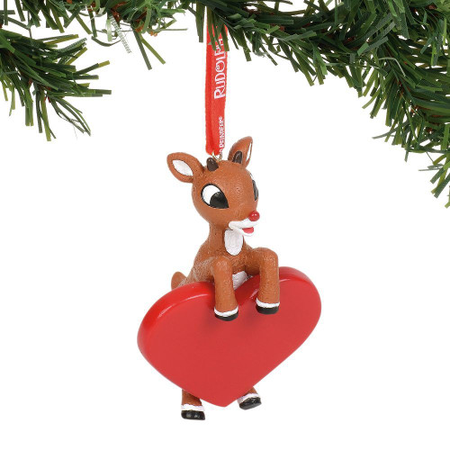 Rudolph With Heart Ornament