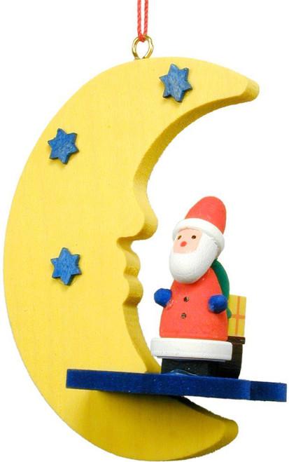 Santa In Moon Ornament
