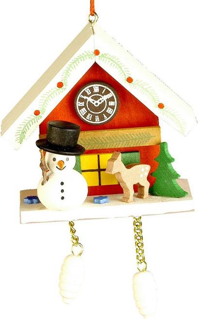 Snowman w/Red Cuckoo Ornament