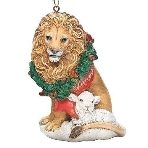 "3.75"" Lion and Lamb Ornament"