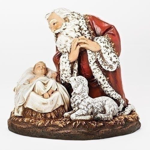 "8"" Kneeling Santa w/Sleep Babe"