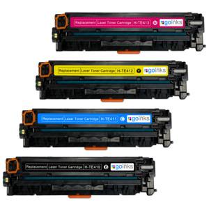 1 Go Inks Set of 4 Laser Toner Cartridges to replace HP CE410X / CE411A / CE412A / CE413A Compatible / non-OEM for HP Colour & Pro Laserjet Printers