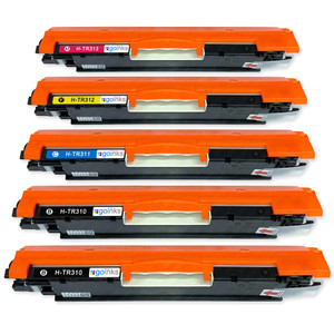 1 Go Inks Set of 4 + extra black Laser Toner Cartridges to replace HP CE310A / CE311A / CE312A / CE313A Compatible / non-OEM for HP Colour & Pro Laserjet Printers