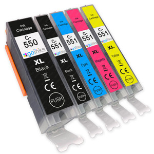1 Go Inks Set of 5 Ink Cartridges to replace Canon PGI-550 & CLI-551 Compatible / non-OEM for PIXMA Printers (5 Pack)